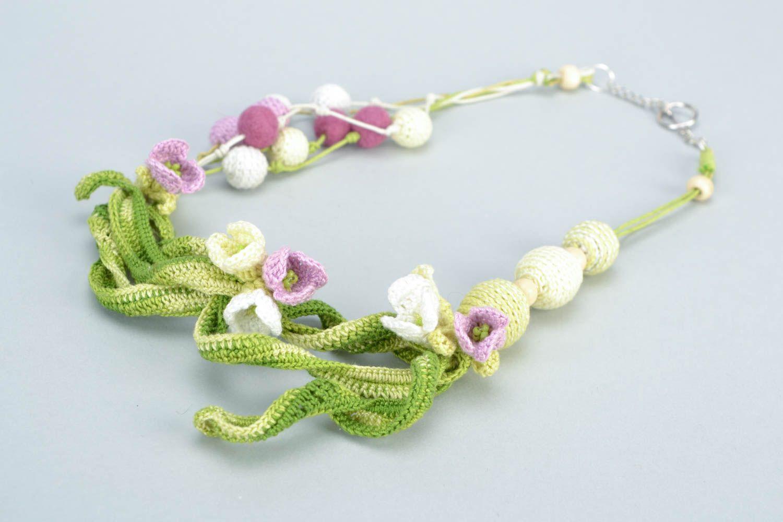 joyería de Tela Collar tejido a crochet de hilos de algodón artesanal con flores femenino ,