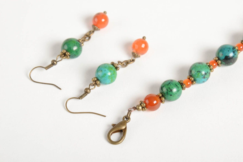 Handmade female wrist bracelet elegant designer earrings elite jewelry set photo 5