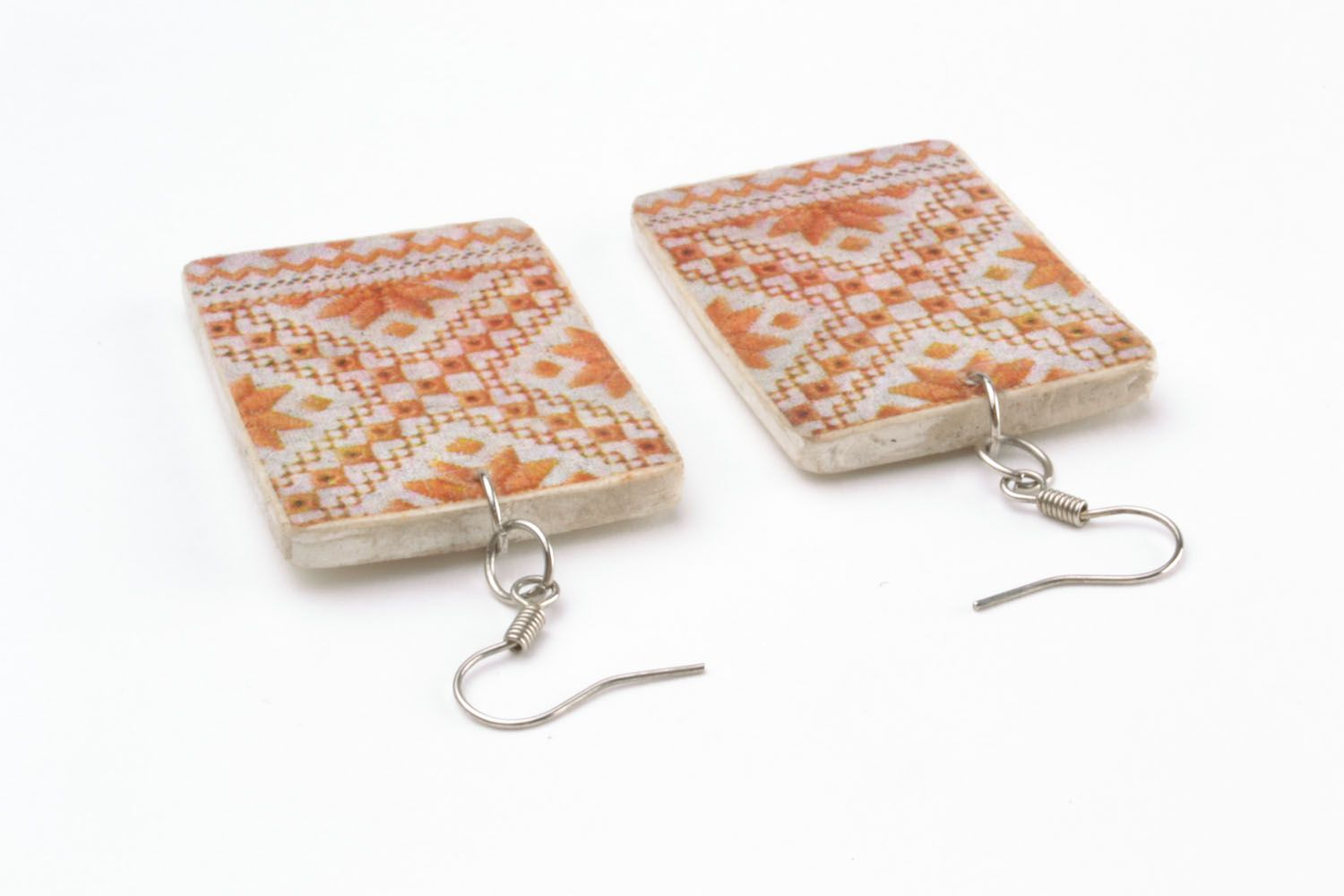 Earrings made of polymer clay Pattern photo 2