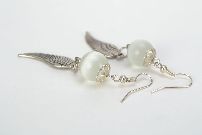 Earrings with cat's eye Wings photo 4