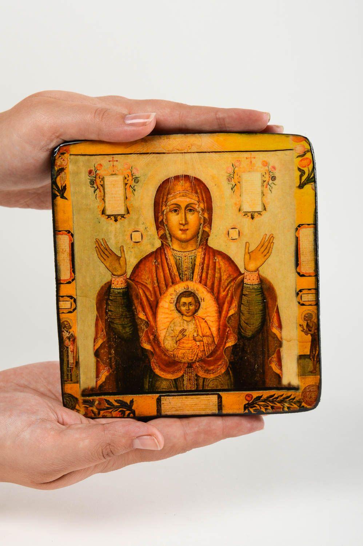 Handmade icon wooden icon of Mother of God designer icon orthodox icon photo 5