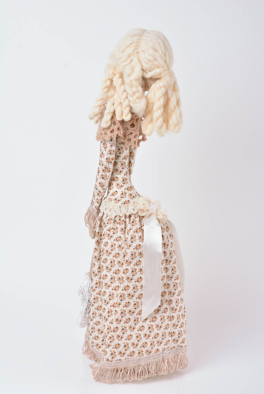 Designer decorative linen doll on stand handmade home decor present for children photo 3
