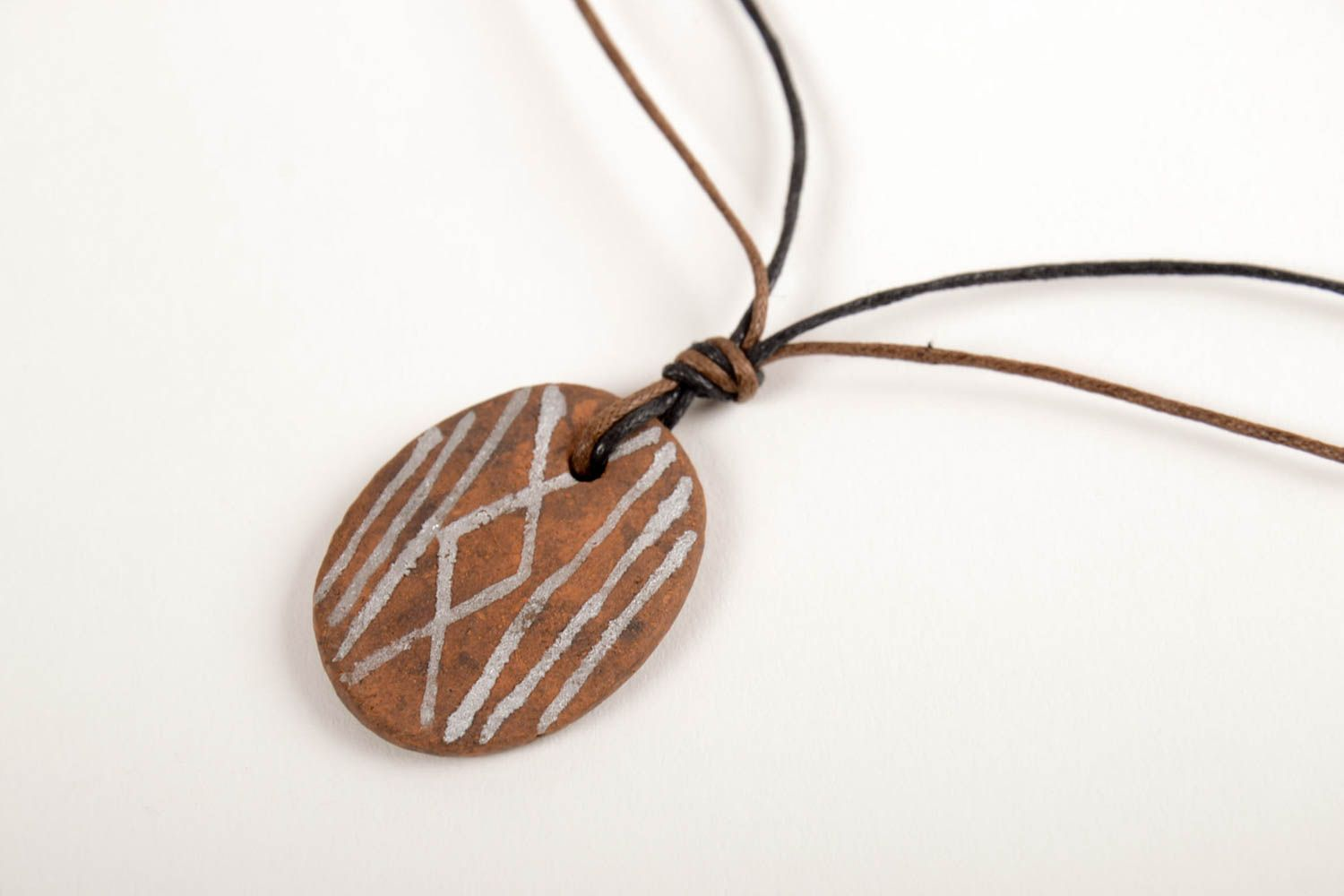 Handmade ceramic pendant unusual stylish accessory beautiful female pendant photo 4