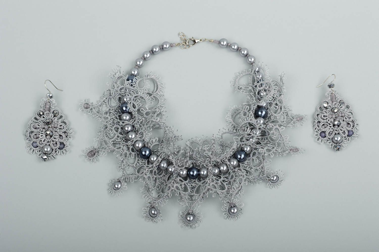Handmade woven lace earrings woven earrings designer accessories for girls photo 1