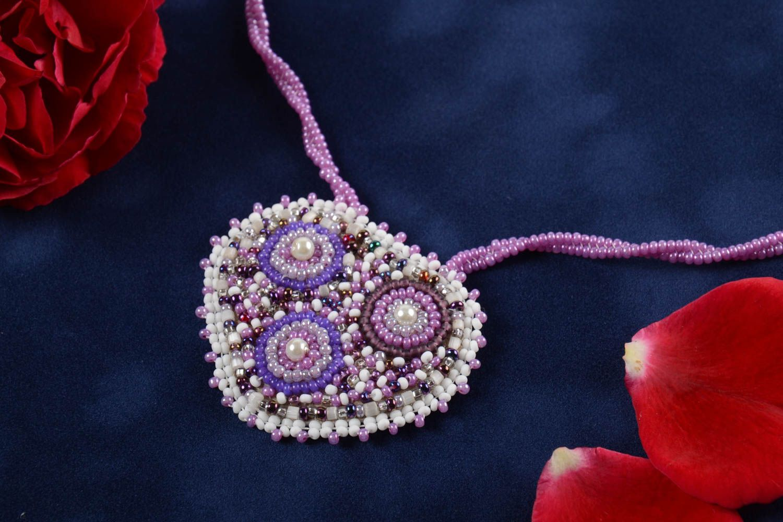 Unusual handmade beaded pendant stylish pendant woven of beads fashion accessory photo 1