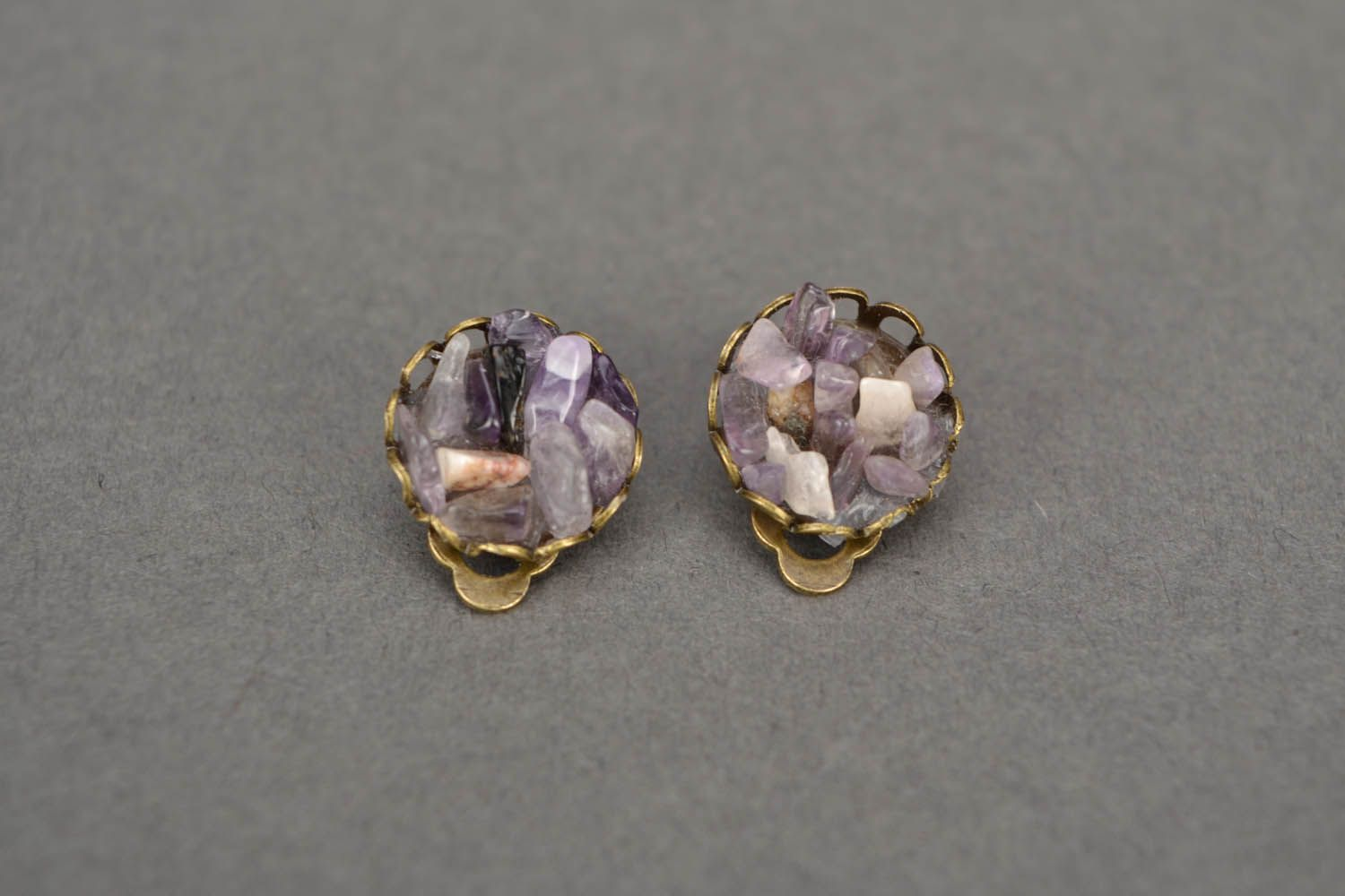 Amethyst clip on earrings photo 4