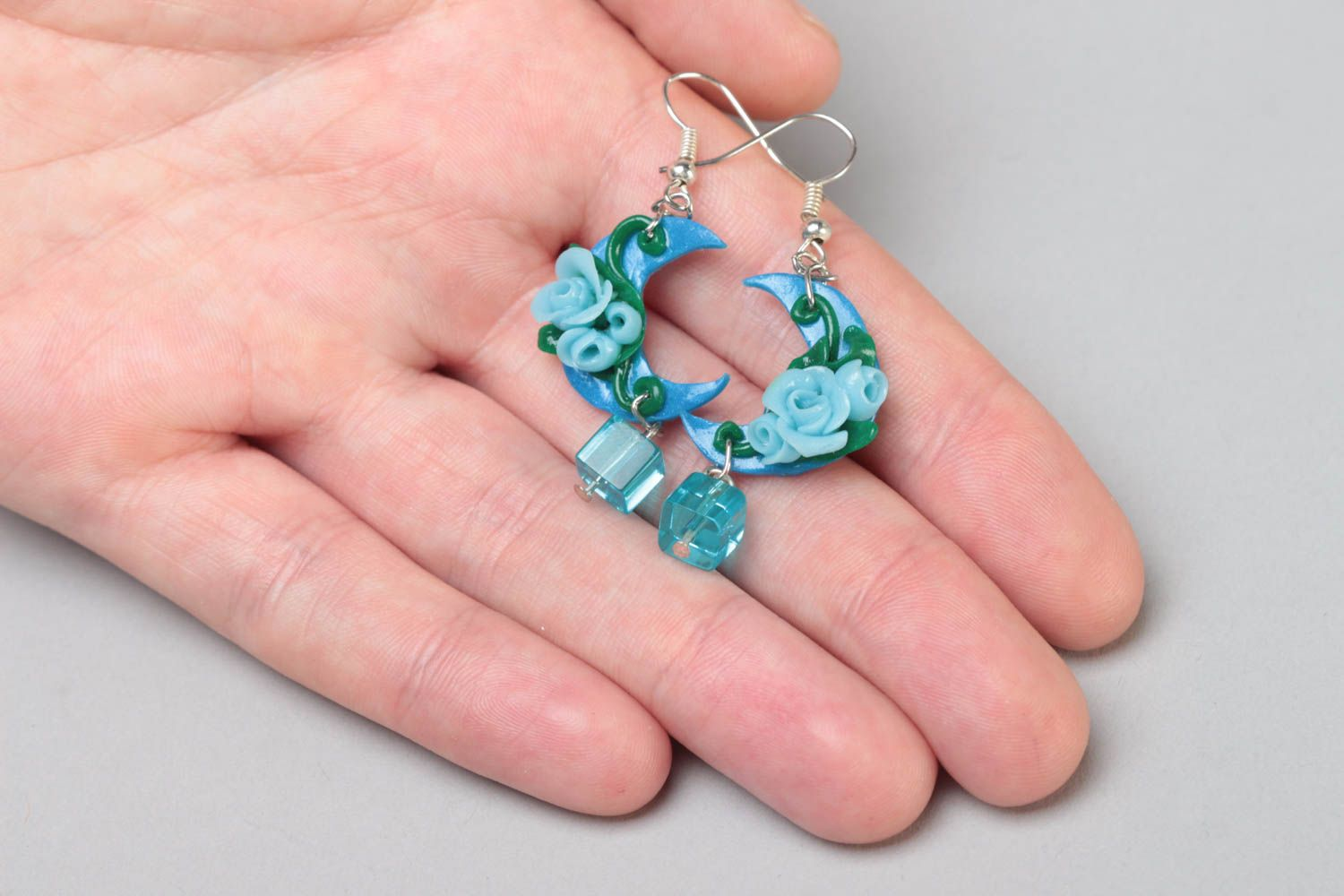 Handmade long polymer clay dangling earrings in blue color palette Moon Light photo 5