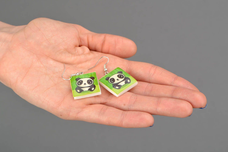 Сережки из полимерной глины с изображением панды  фото 2
