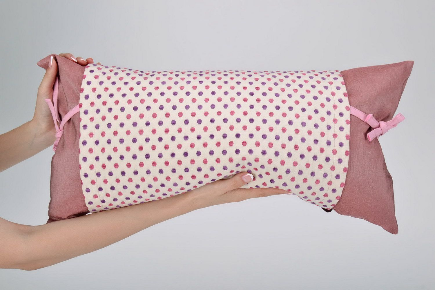 textiles and carpets Handmade decorative pillow made of organza - MADEheart.com