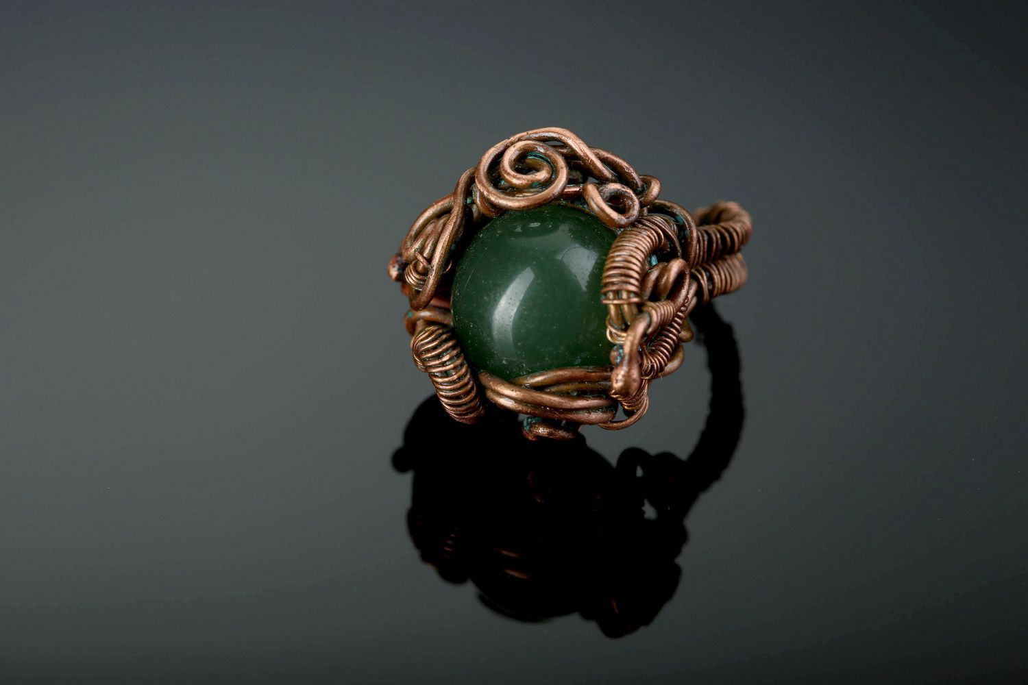 Copper ring with nephrite photo 4