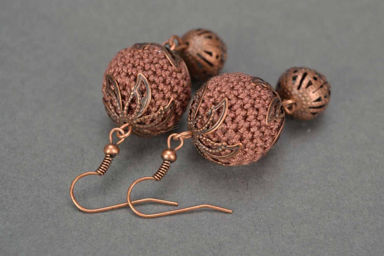 Crocheted earrings Juniper Balls photo 4