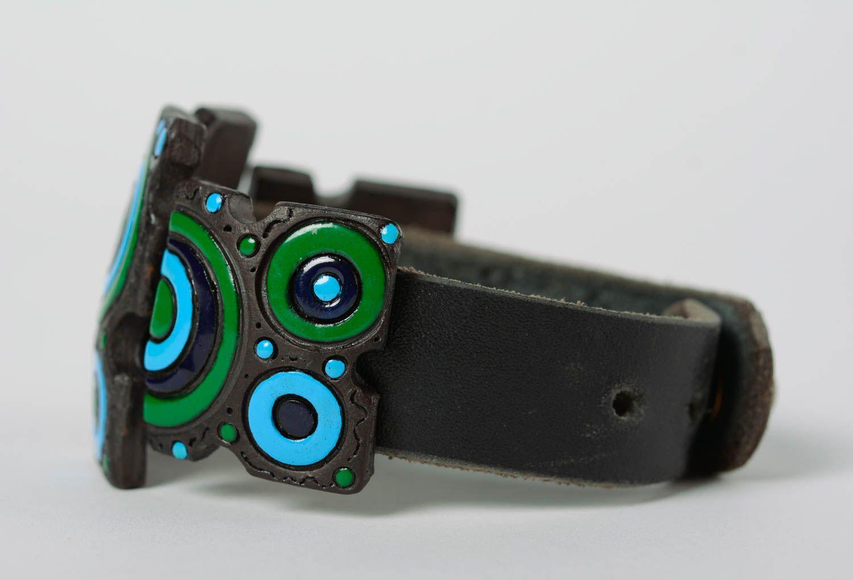 Bracelet en cuir et céramique large multicolore à motif géométrique fait main photo 4