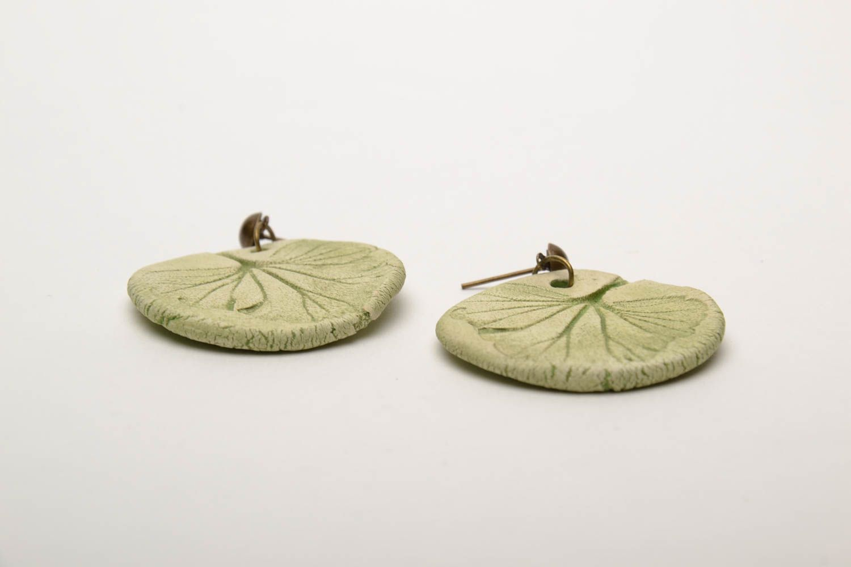 Ceramic round earrings photo 4