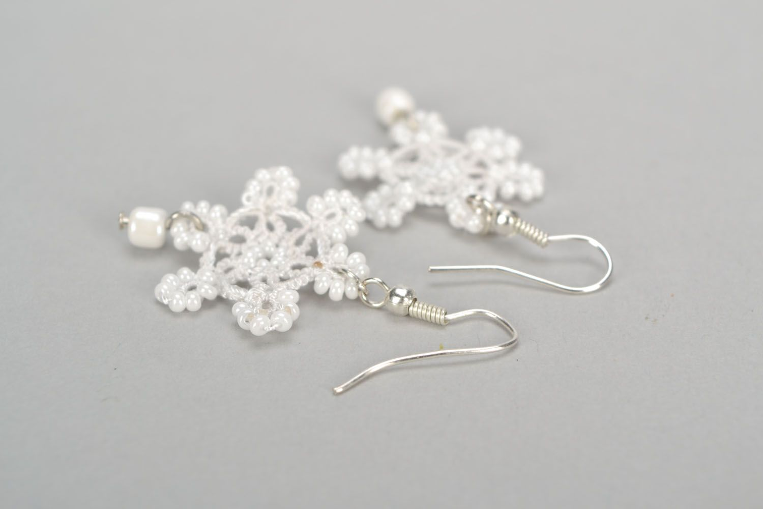 Earrings made using tatting technique Snowflakes photo 4
