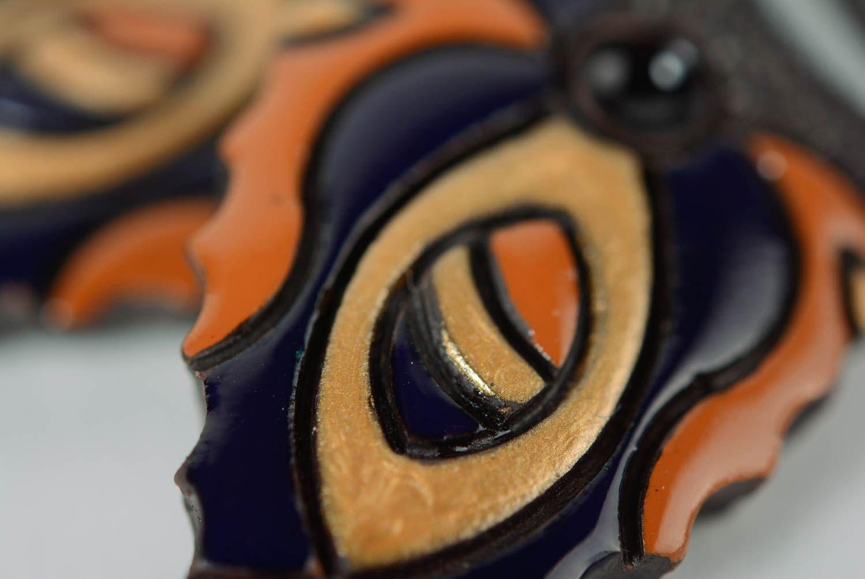 Глиняные серьги расписанные эмалью ручной работы яркие женские в виде листиков фото 2