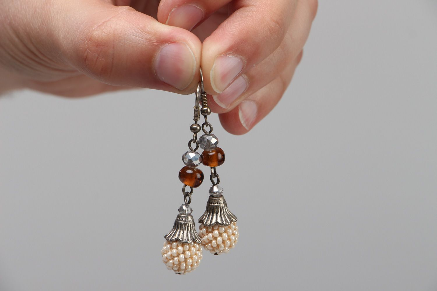 Handmade festive dangle earrings with Czech and glass beads in light color palette photo 3