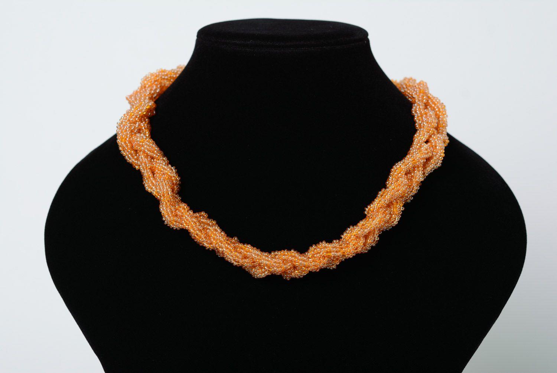 Витой жгут из бисера в виде косички персикового цвета ручной работы для женщин  фото 1