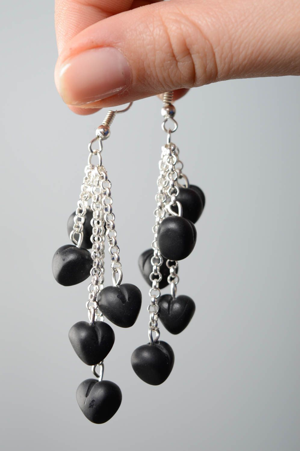 Polymer clay earrings with charms Black Heart photo 4
