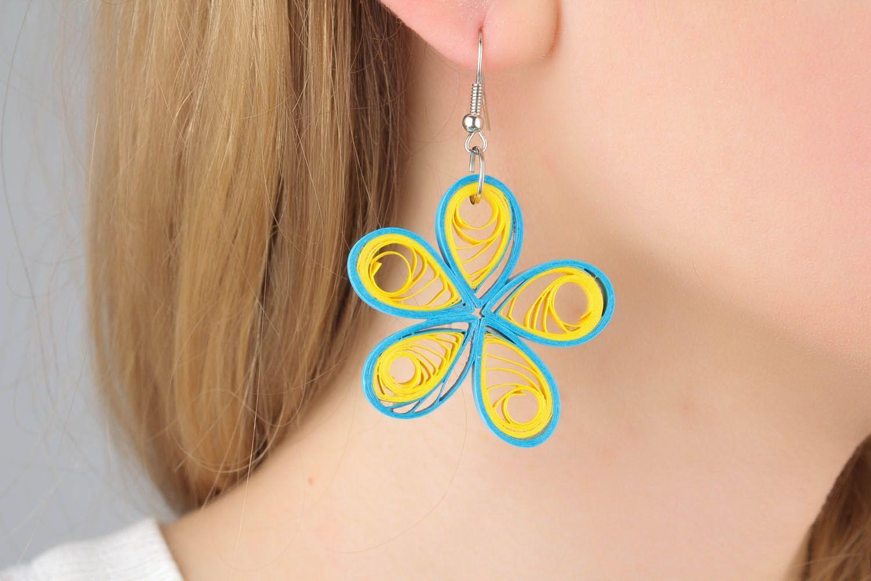 Handmade paper flower earrings  photo 1