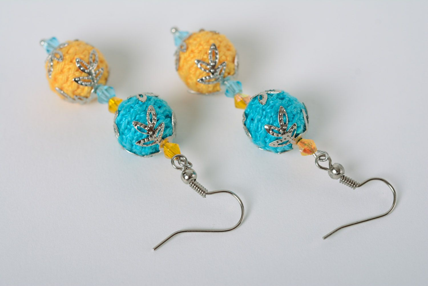 Handmade dangle earrings crocheted of cotton threads of yellow and blue colors photo 3