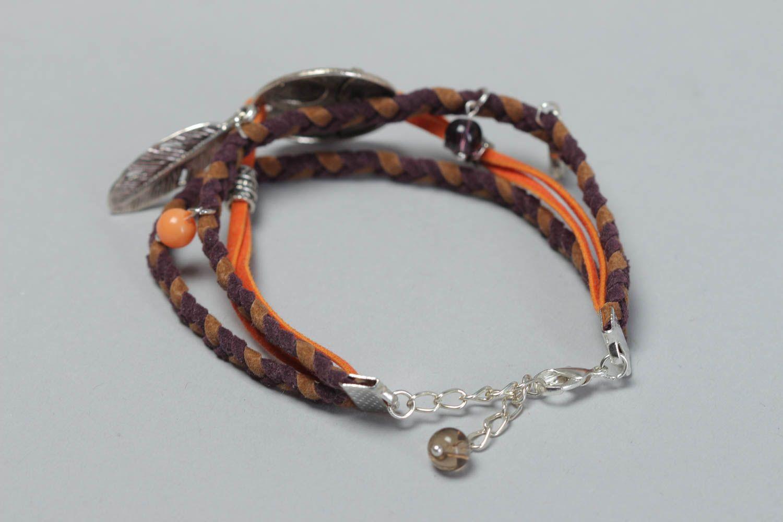Handmade festive bracelet leather unusual accessory beautiful wrist jewelry photo 4