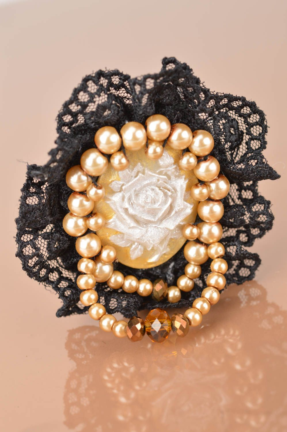 cameo brooches Unusual handmade designer cameo brooch with lace and beads in vintage style - MADEheart.com