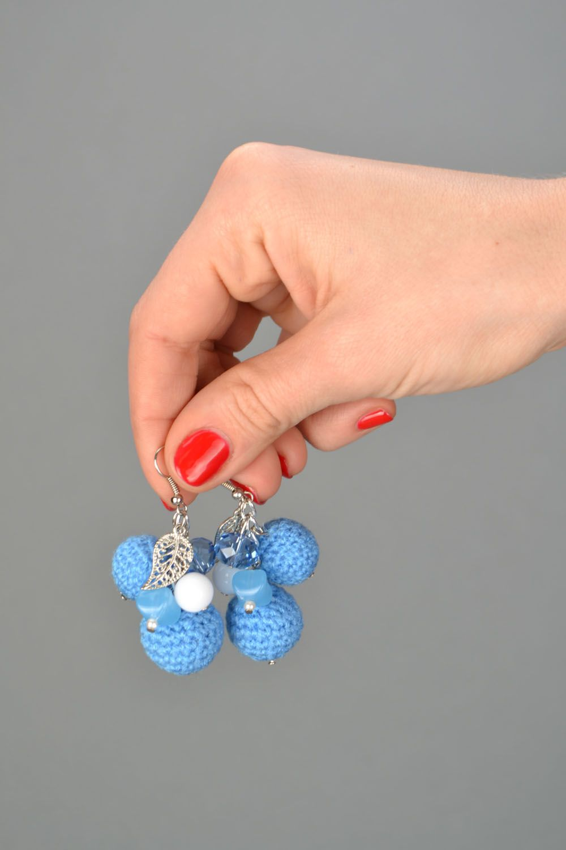 Crochet bead earrings photo 2
