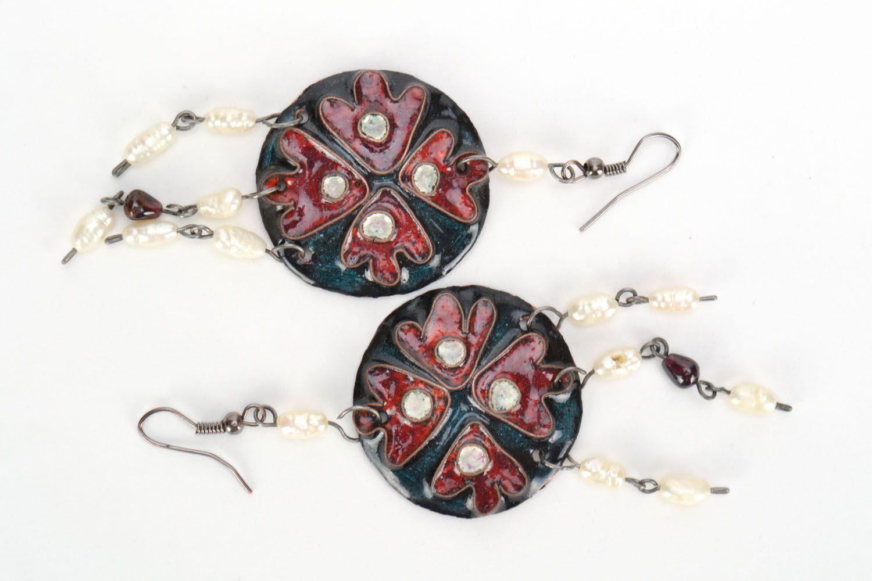 Copper earrings with enamel photo 2