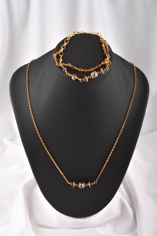 Handmade Schmuck Set Collier Halskette Damen Armband  mit Kristallen modisch foto 1