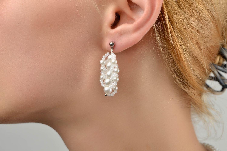 Handmade beaded earrings designer stylish jewelry unique bijouterie for woman photo 2