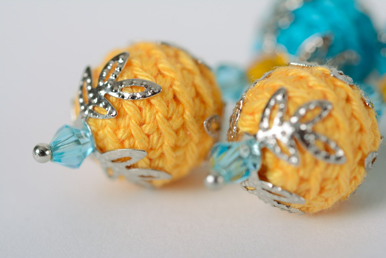 Handmade dangle earrings crocheted of cotton threads of yellow and blue colors photo 5