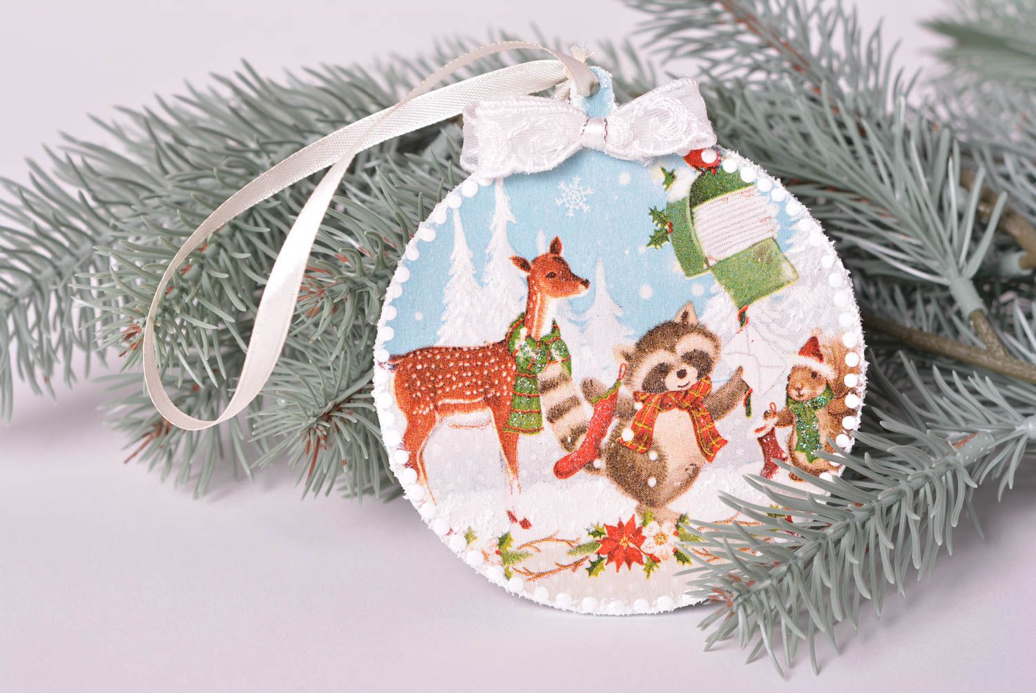 Wooden toy handmade tree toy decoupage Christmas decor tree decoration