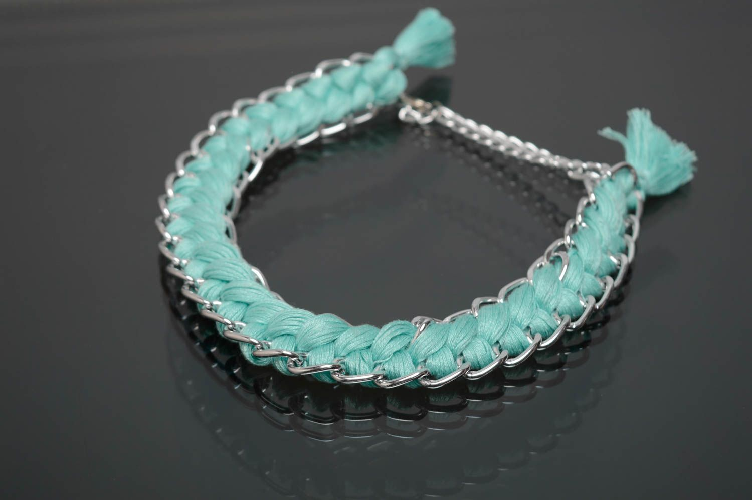 Mint embroidery floss necklace photo 1