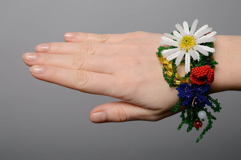 Цветочный браслет из бисера Украиночка фото 4
