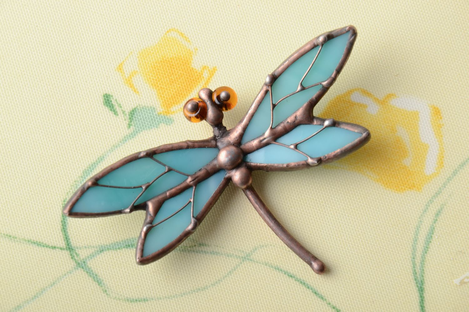 Stained glass brooch Blue Dragonfly photo 1