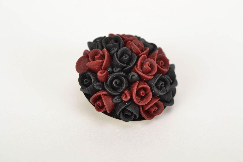 Schöne Brosche aus Polymerton Schwarz Bordeaux foto 3