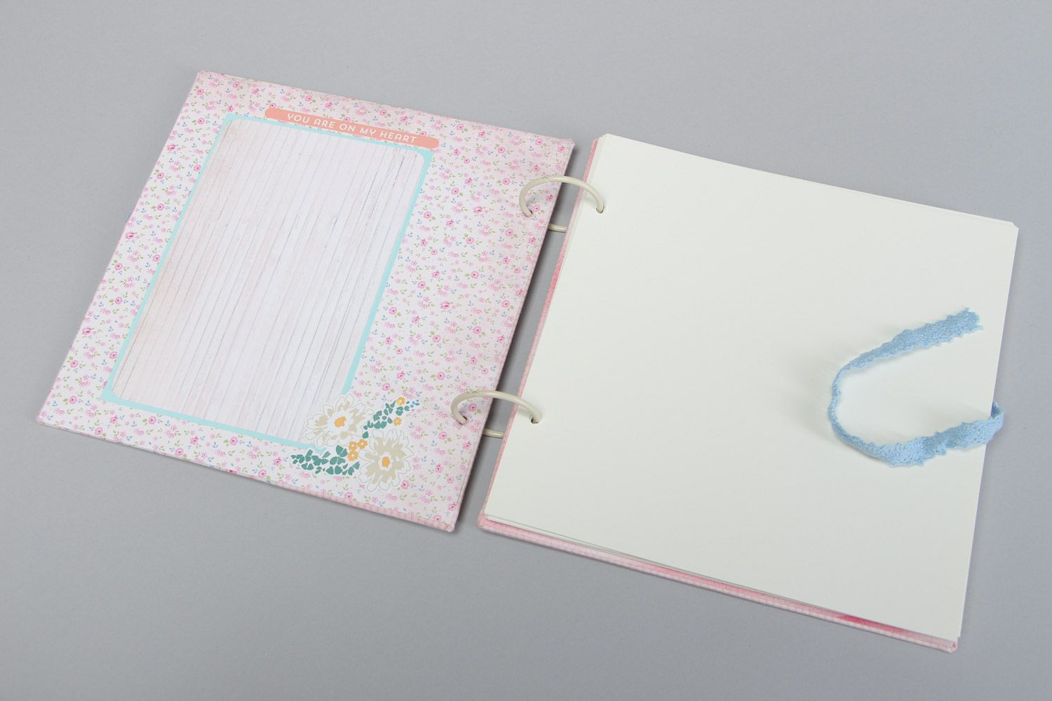 Handmade designer scrapbooking photo album for 25 pages in pink colors photo 3