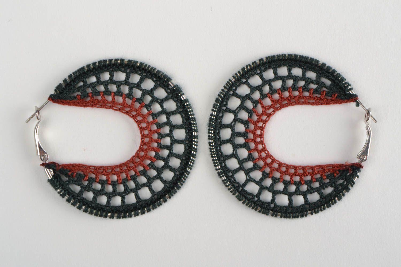 hoop earrings Handmade dangling ring shaped earrings woven of threads on metal round basis - MADEheart.com