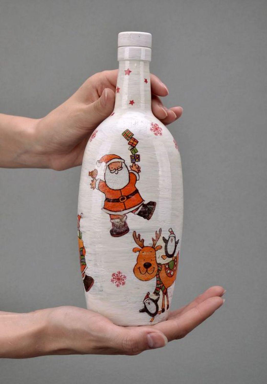 New Year decorative glass bottle  photo 5