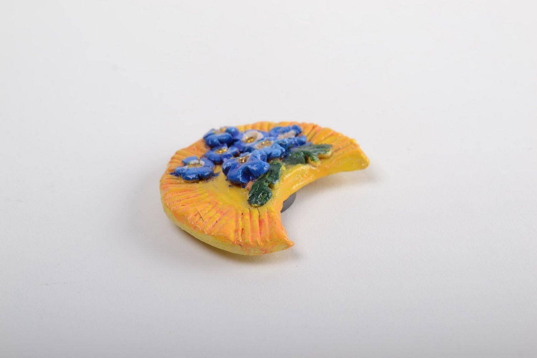 Handmade designer souvenir stylish ceramic fridge magnet cute interior decor photo 5
