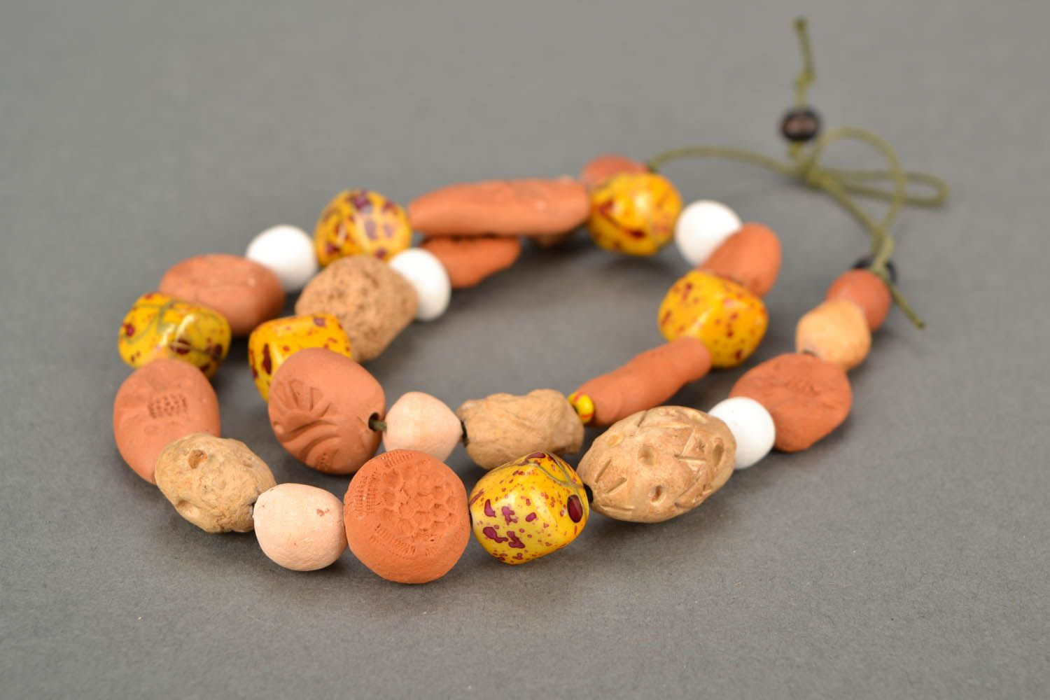 Clay beaded necklace Ethnic photo 5