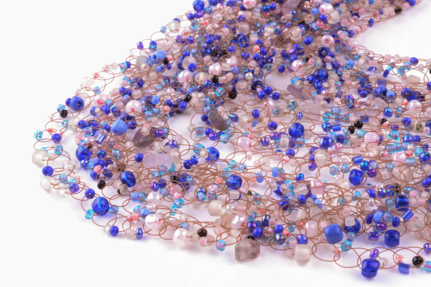 Violet necklace made of beads and natural stones photo 2