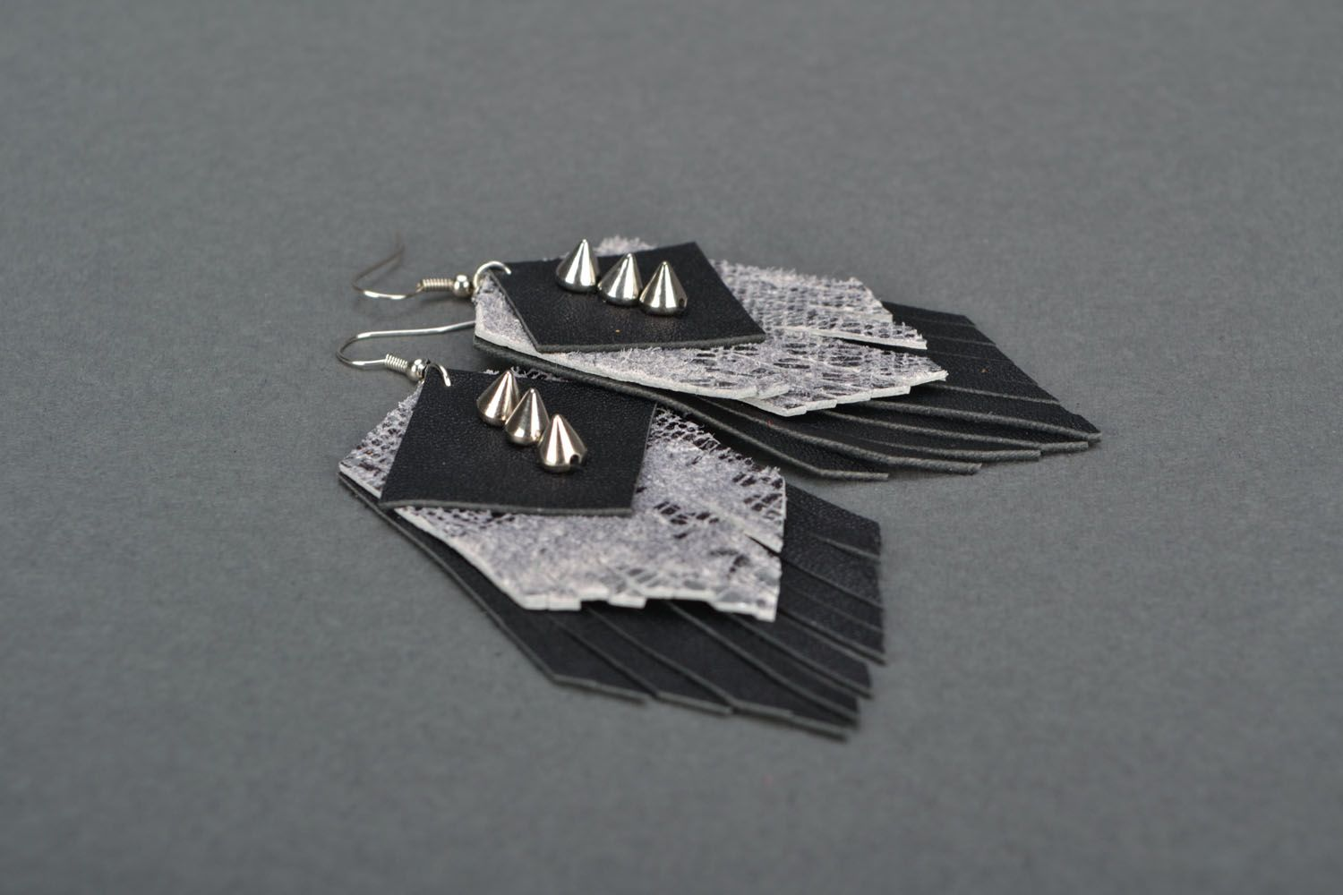 Leather earrings with studs  photo 3