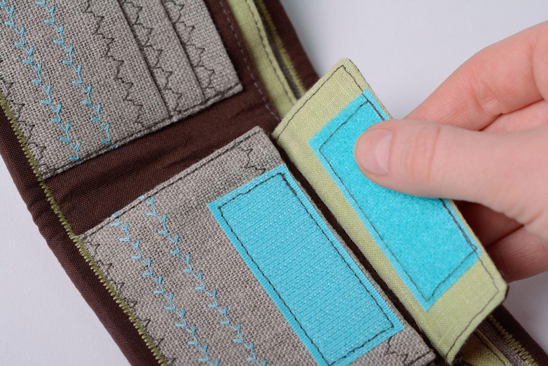 Handmade cotton and denim women's wallet photo 3