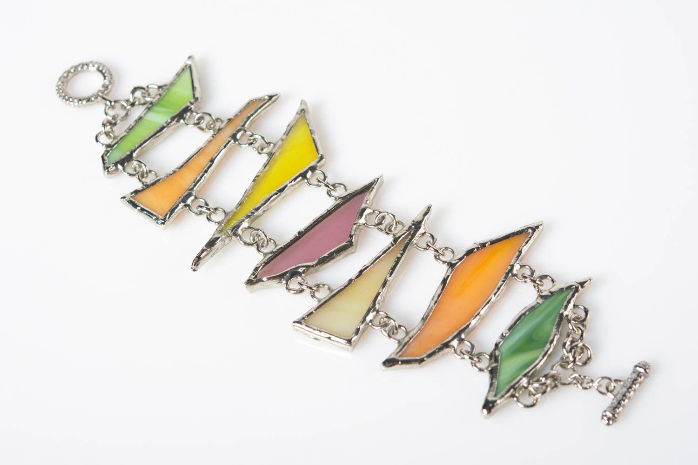 Handmade colorful glass and metal wrist bracelet designer for women photo 1