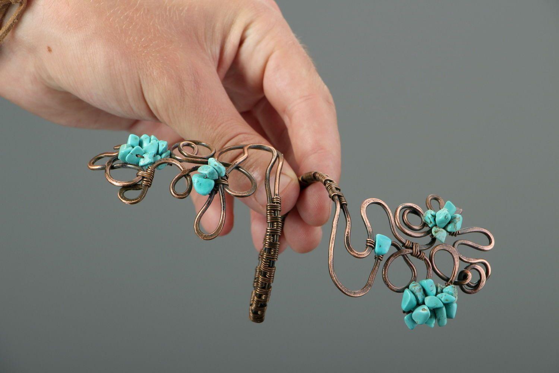 Copper bracelet with turquenite photo 4