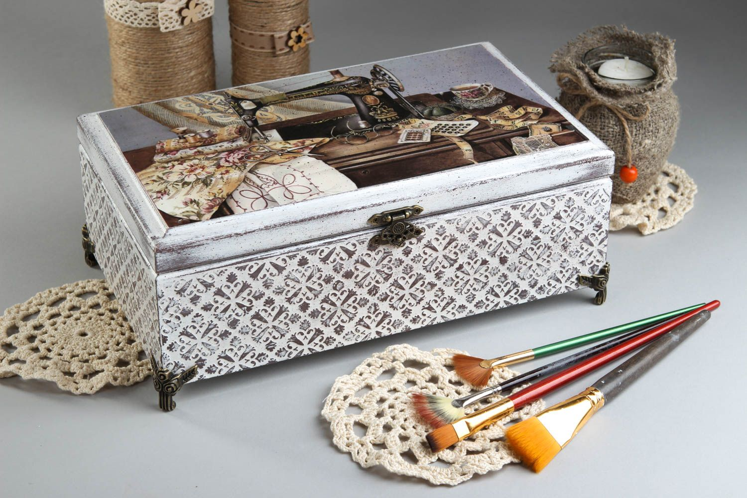 Handmade jewelry box with decoupage wood boxes home decor ideas wooden decor