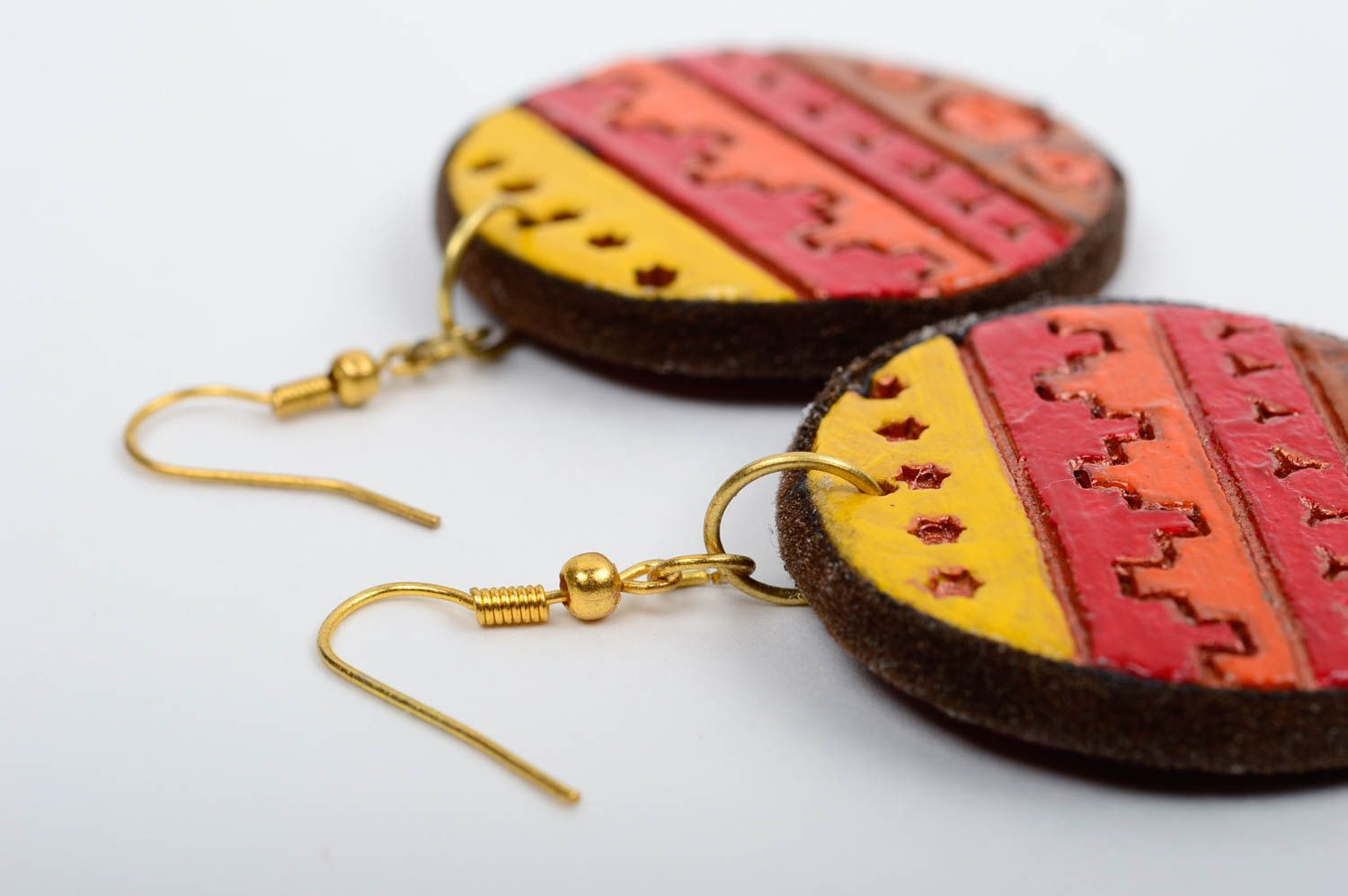Unusual handmade clay earrings ceramic earrings fashion accessories for girls photo 3