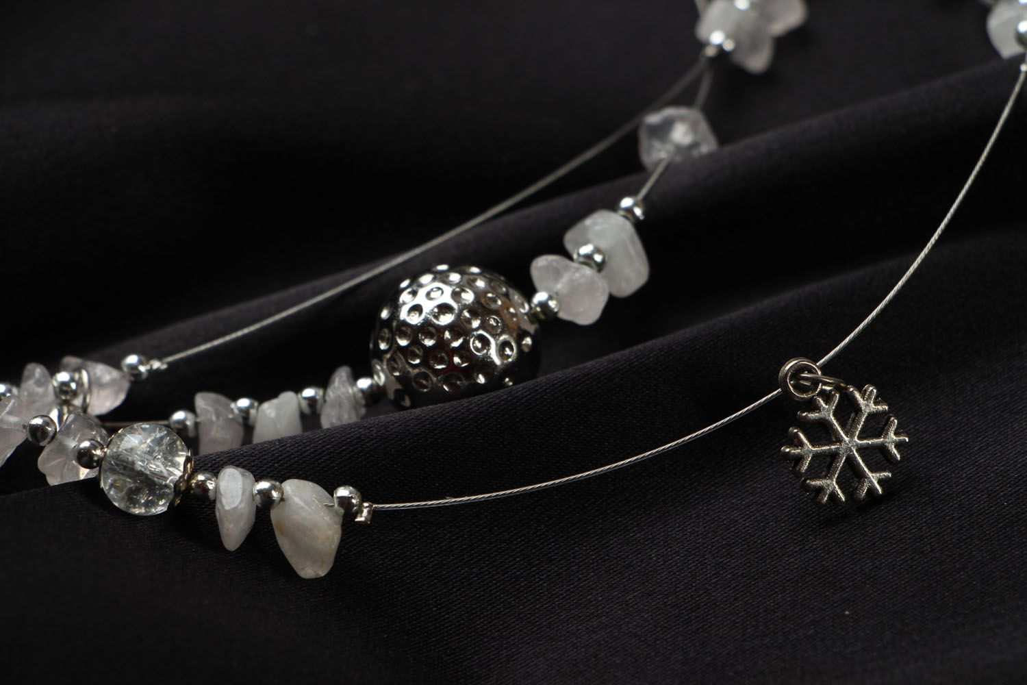 Beaded necklace with quarts New Year Mood photo 3