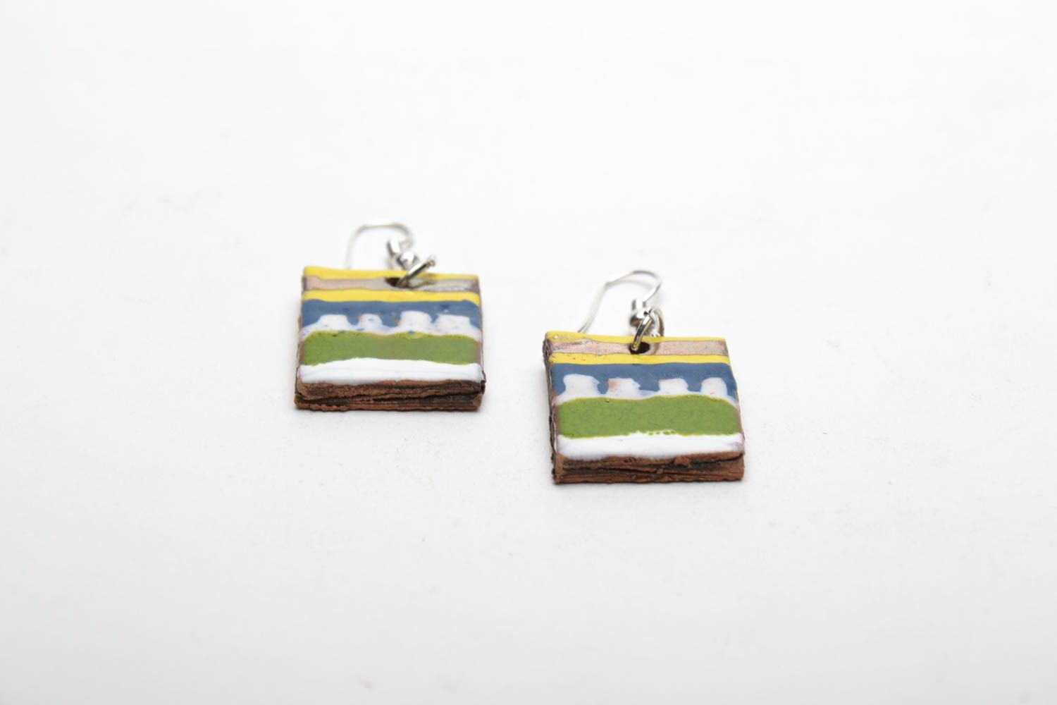 Square clay earrings photo 4